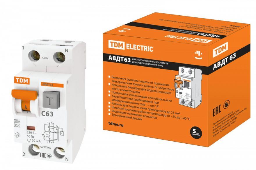 Дифференциальный автоматический выключатель TDM АВДТ63 SQ0202-0006