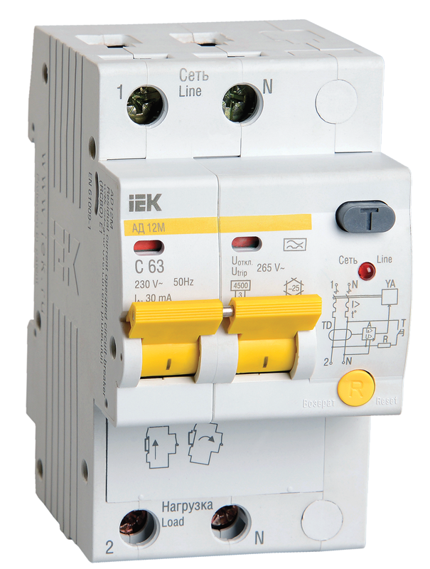 Дифференциальный автоматический выключатель IEK MAD12-2-016-C-030