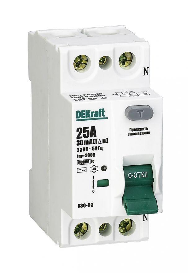 Schneider Electric DEKraft устройство защитного отключения УЗО-03 2P 25А/30мА AC 6кА 14054DEK