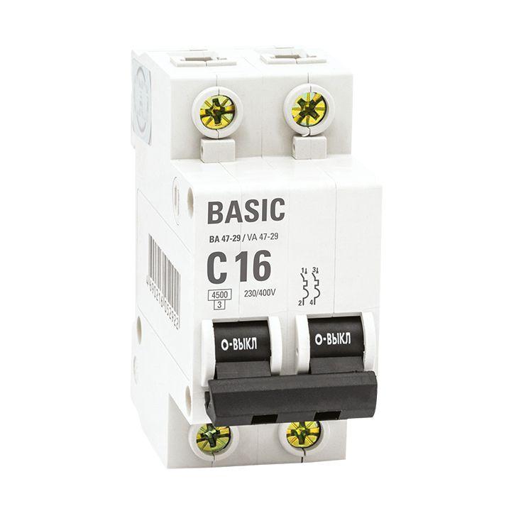 EKF Basic автоматический выкл. ВА47-29, 2P 63А (C) 4,5кА  mcb4729-2-63C