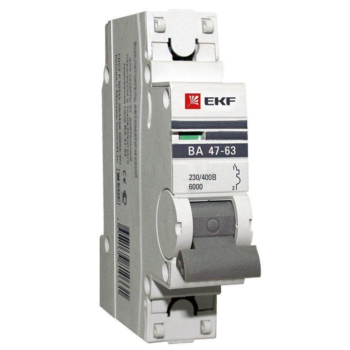 EKF Автоматический выключатель ВА47-63 6кА, 1P 63А (B) EKF PROxima