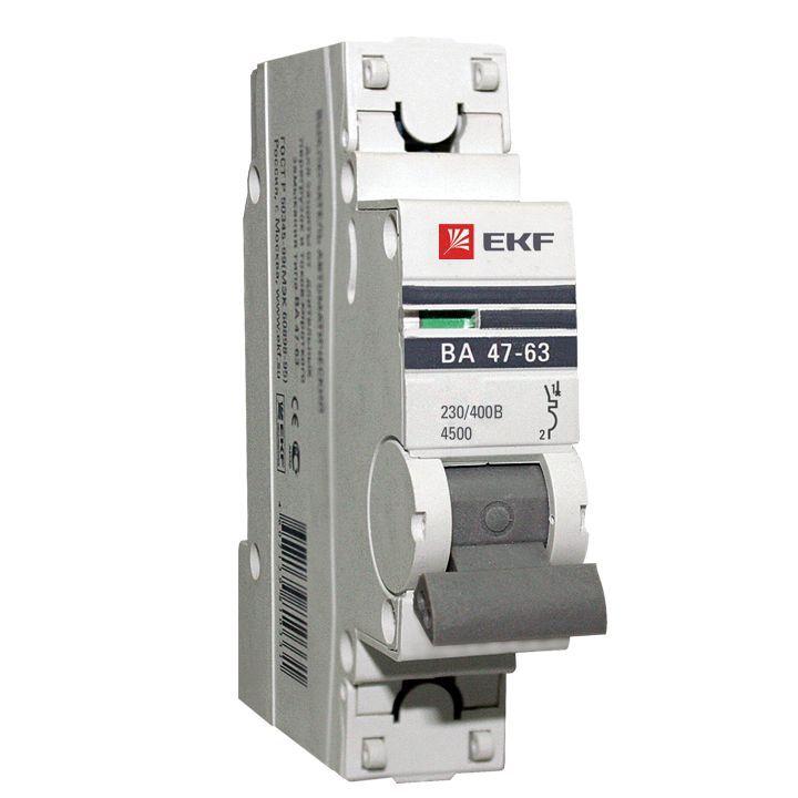 EKF Автоматический выключатель ВА47-63, 1P 63А (D) 4,5kA EKF PROxima