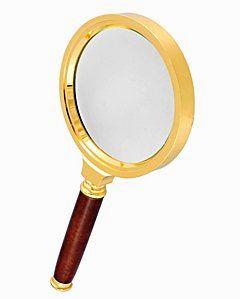 Лупа ручная круглая 6х-70мм в золотистой оправе