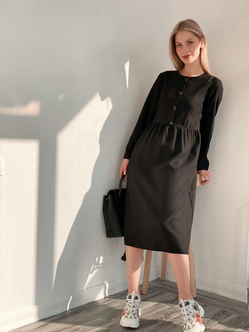 s3838 Платье из микровельвета чёрное