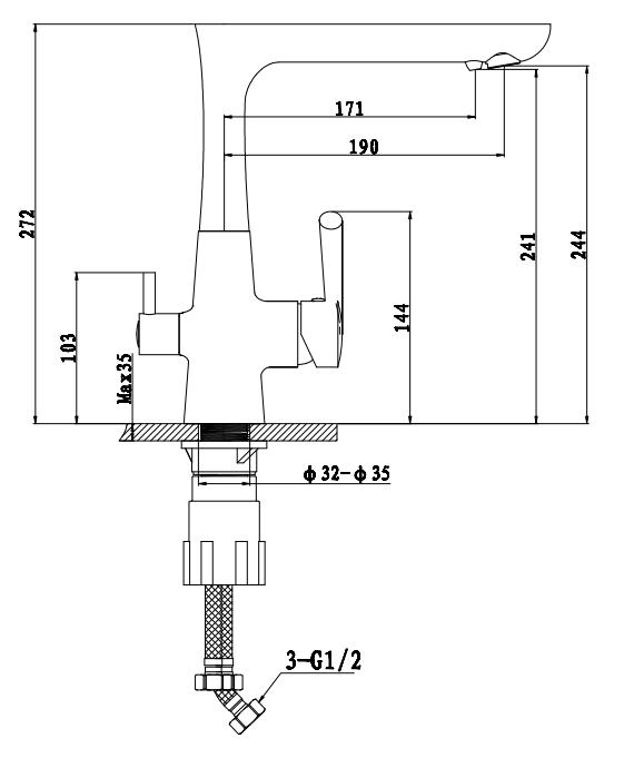 Смеситель для кухни с выходом под  фильтр Ewigstein 3223515 Иней