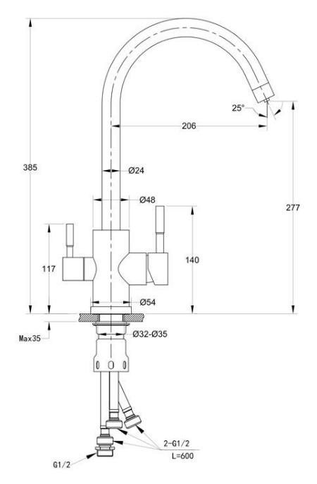 Смеситель для кухни с выходом под фильтр Ewigstein 3423516 Серый металлик