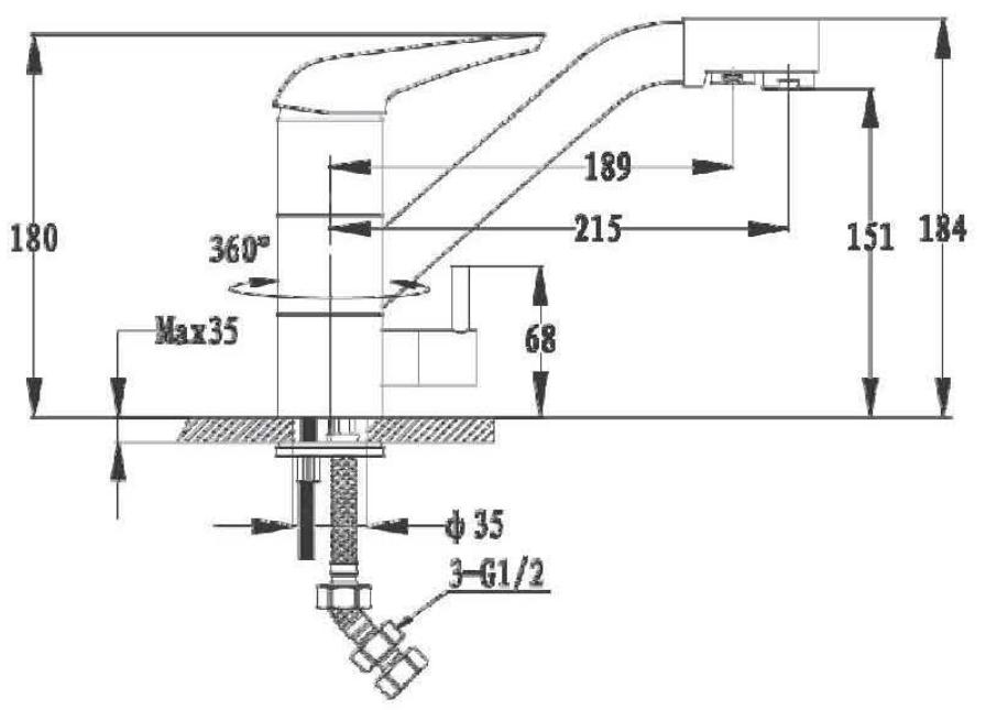 Смеситель для кухни с выходом под фильтр GranFest Мрамор GF2624-1 Терракот