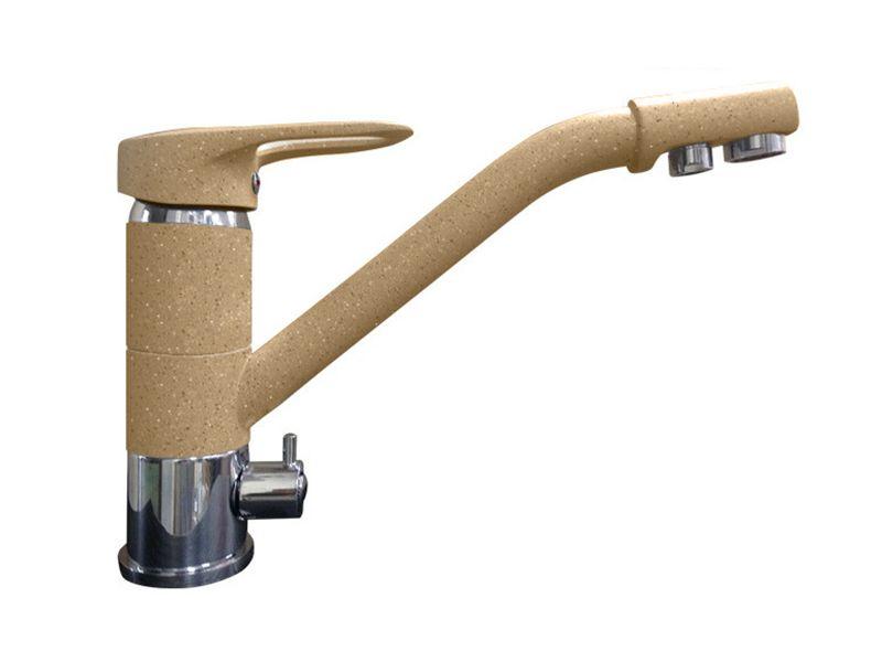 Смеситель для кухни с выходом под фильтр GranFest Мрамор GF2624-1 Песочный