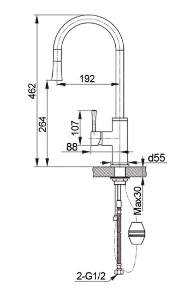 Смеситель для кухни с выдвижной лейкой GranFest мрамор GF7652 Черный