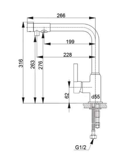 Смеситель для кухни с выходом под фильтр GranFest Мрамор GF7671 Белый