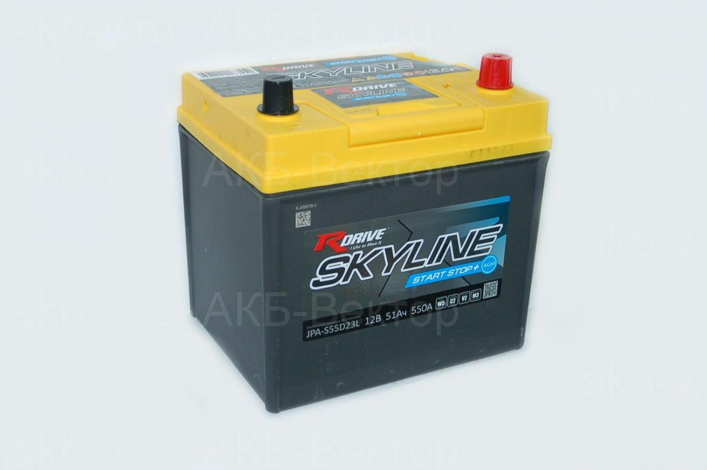 RDrive Skyline (55D23L) AGM 51Ач 550А(EN)