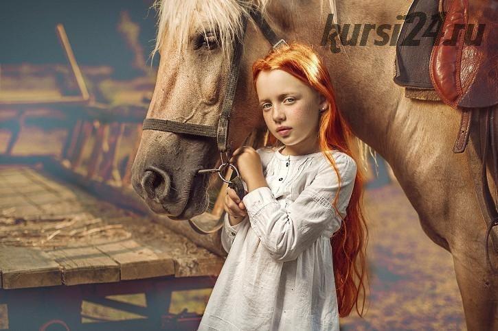 Рыжая девочка / Red haired girl with horse (Дмитрий Усанин) на английском языке