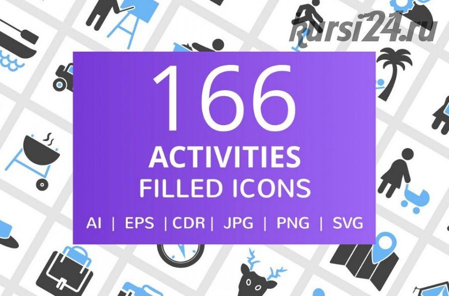 [Creative Market] 166 иконок активности людей. 166 Activities Filled Icons