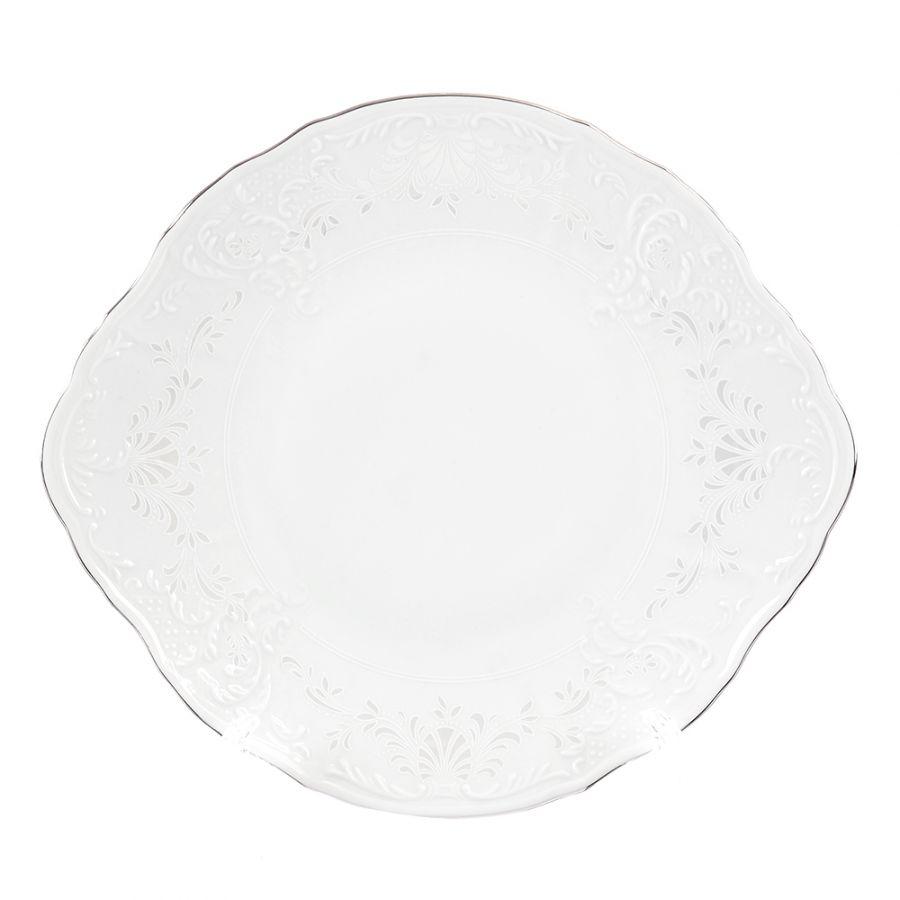 """Тарелка для торта """"Платиновый узор"""" 27 см"""