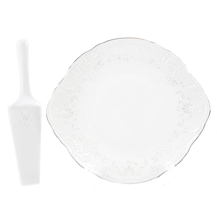 """Тарелка для торта с лопаткой """"Платиновый узор"""" 27 см"""