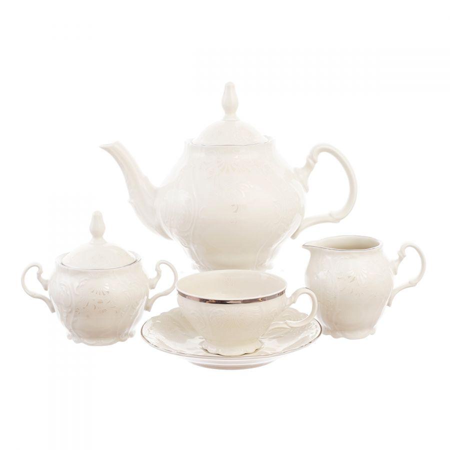 """Чайный сервиз на 6 персон """"Платиновый узор Be-Ivory"""" 17 пр."""