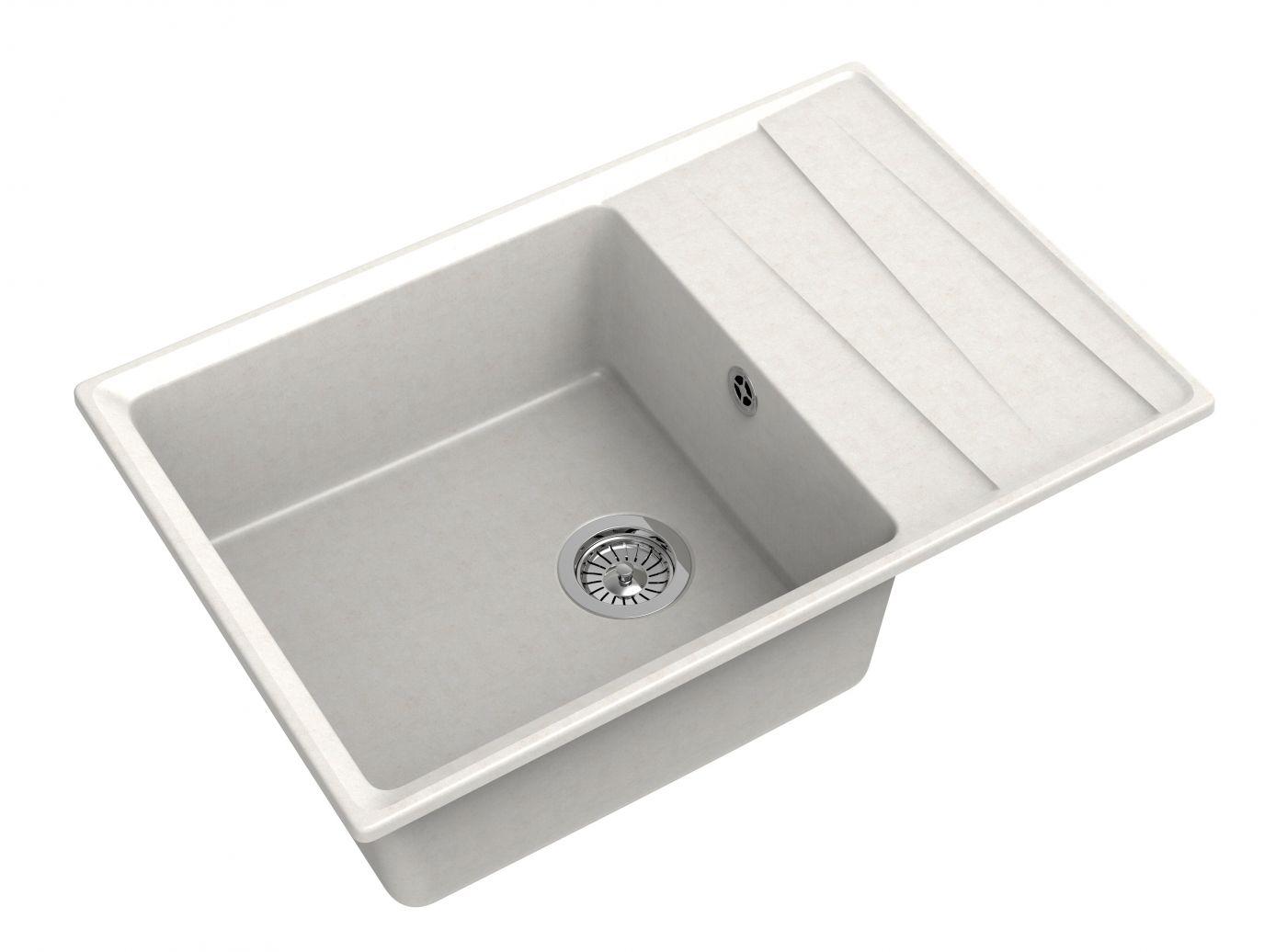 Мраморная мойка для кухни GranFest Level GF-LV760L Белый