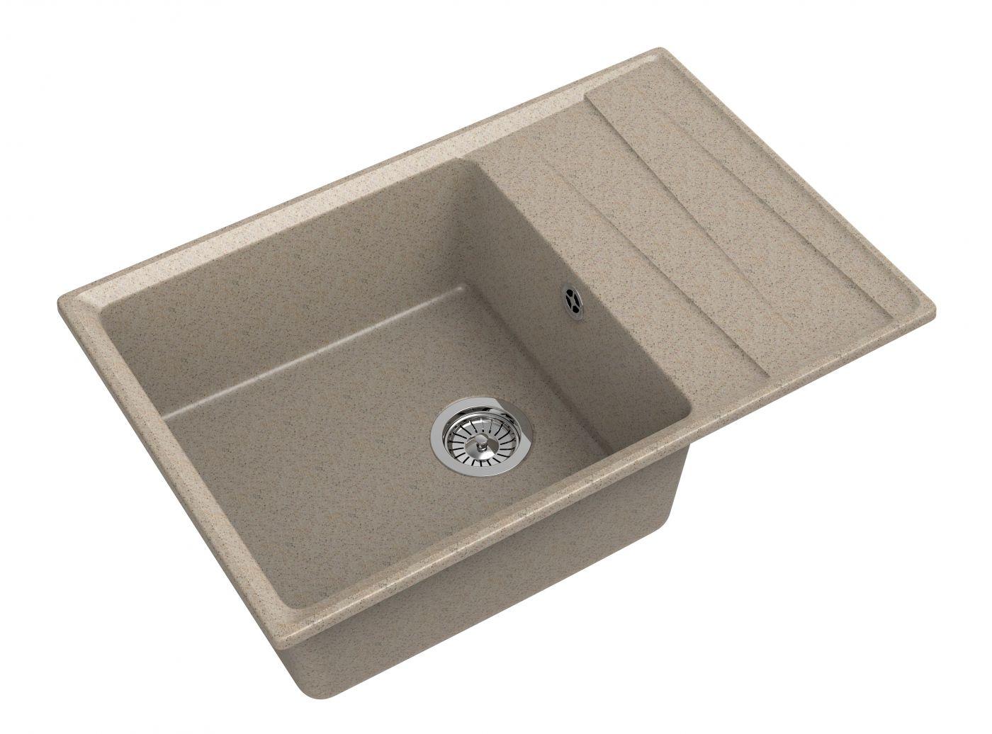 Мраморная мойка для кухни GranFest Level GF-LV760L Песочный