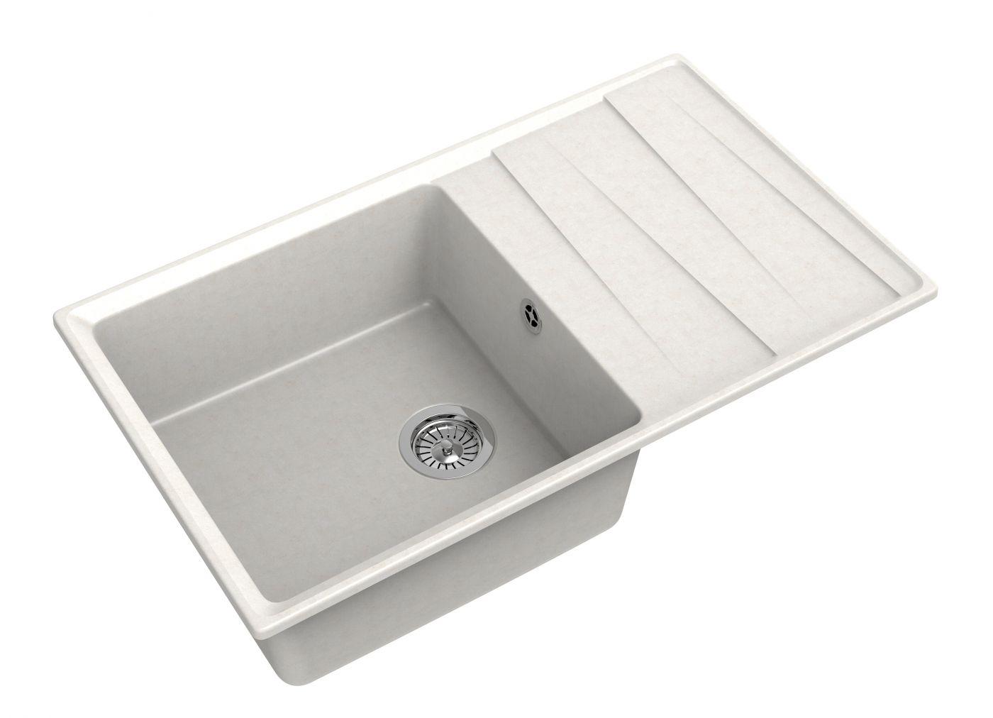Мраморная мойка для кухни GranFest Level GF-LV860L Белый