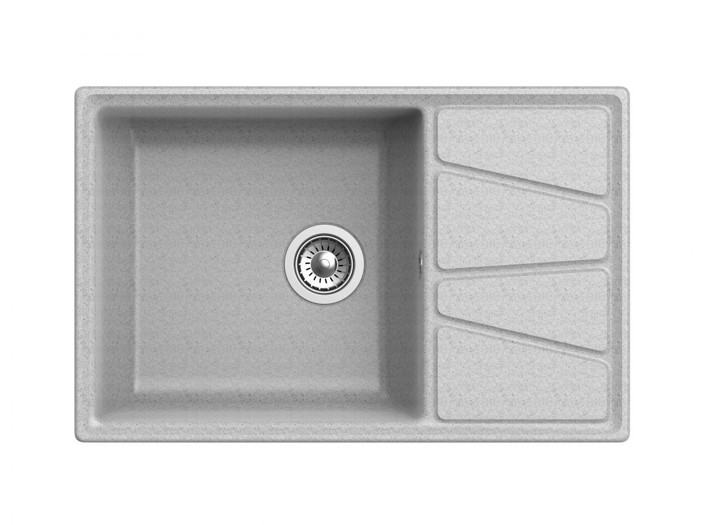 Мраморная мойка для кухни GranFest Vertex GF-V780L Серый