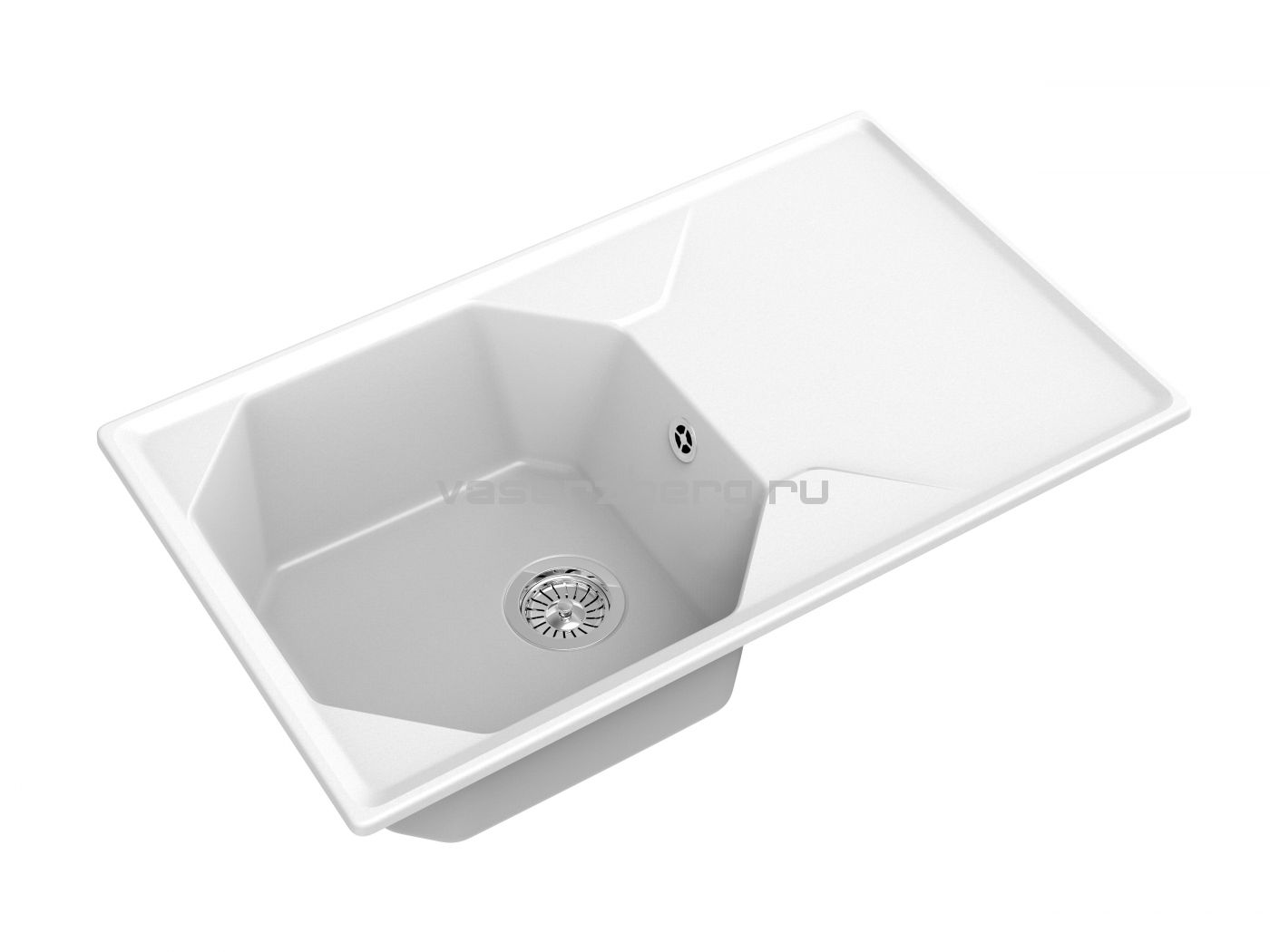 Мраморная мойка для кухни GranFest Unique GF-U840L Иней