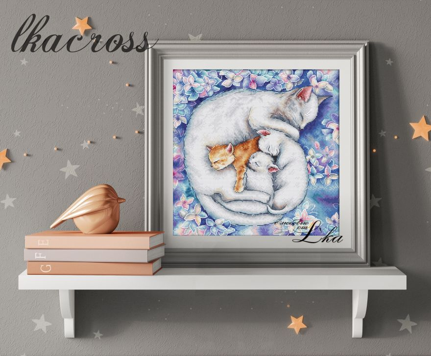 """Mother cat"". Digital cross stitch pattern."