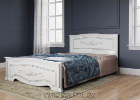 Кровать из массива Анабель-9 белая с патиной серебро