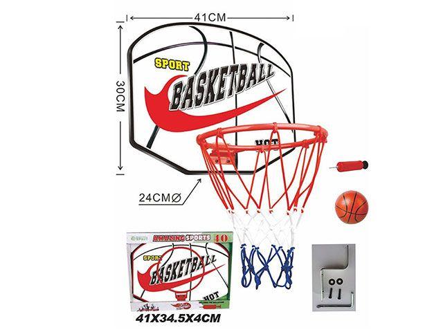 Баскетбольное кольцо металлическое 22 см. со щитом, мячом и насосом (TCX40-2)