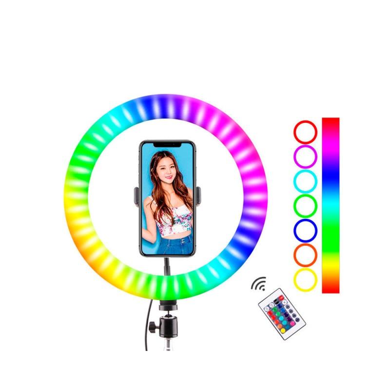 Цветная кольцевая светодиодная лампа с держателем RGB LED MJ-26 (26 см)