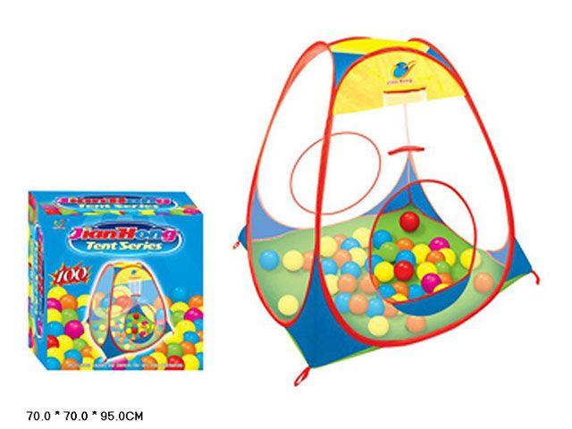 Детская палатка с шариками прозрачные стенки (T999-55)