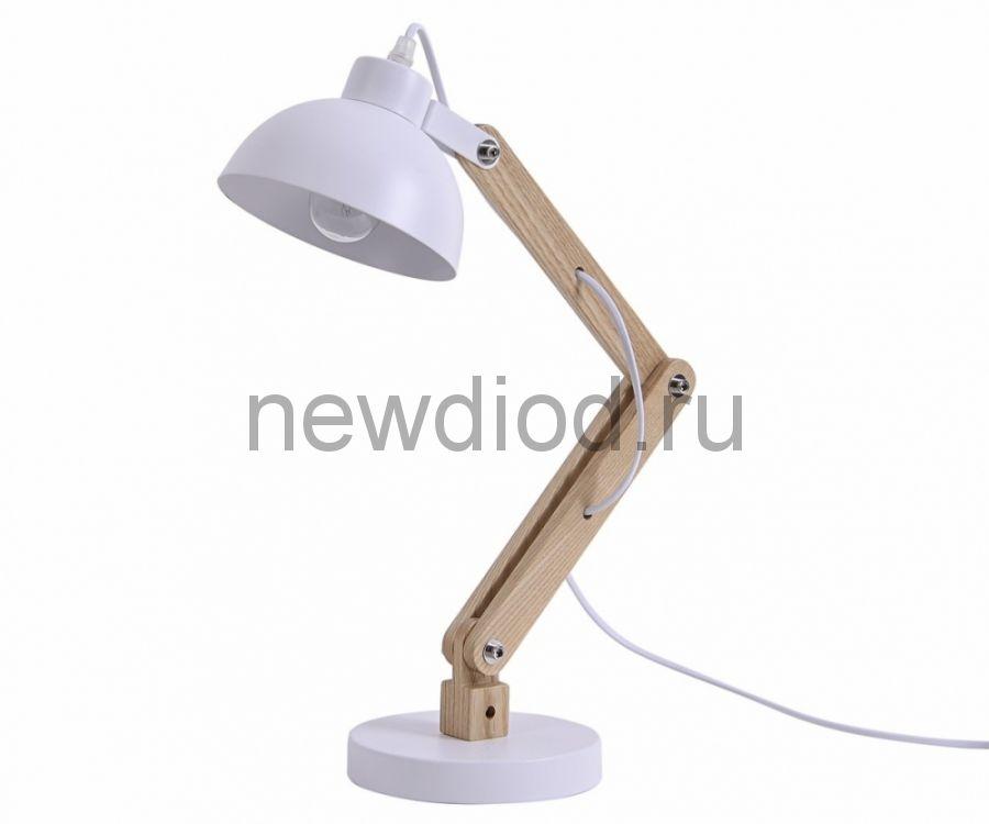 Светильник настольный COMFORT 843W под лампу E27 на основании МЕТАЛЛ+ДЕРЕВО БЕЛЫЙ OREOL