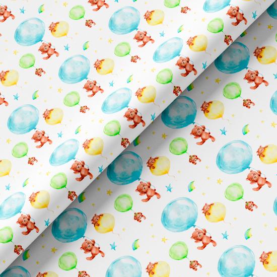 Хлопок Перкаль - Мишки на воздушных шарах 50х37