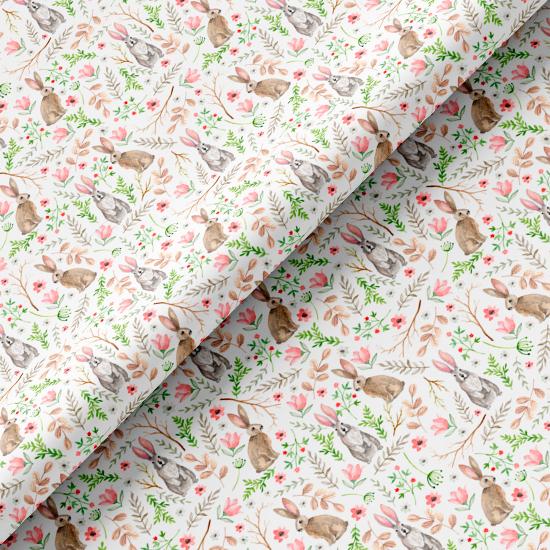 Хлопок Перкаль - Акварельные зайцы в цветах 50х37