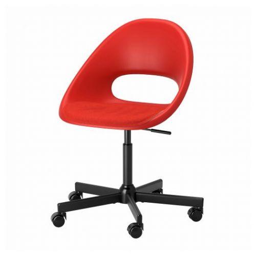 ELDBERGET ЭЛДБЕРГЕТ / MALSKAR МАЛЬСКЭР, Рабочее кресло c подушкой, красный/черный - 093.319.15