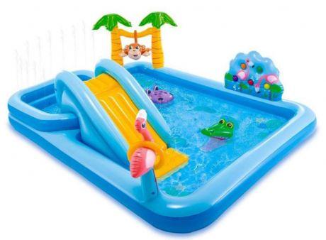 Intex 57161, детский надувной центр с горкой Приключения в Джунглях