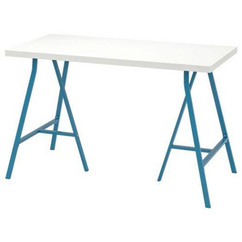 LINNMON ЛИННМОН / LERBERG ЛЕРБЕРГ, Стол, белый/синий, 120x60 см - 893.308.13