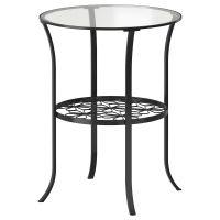 KLINGSBO КЛИНГСБУ, Придиванный столик, черный/прозрачное стекло, 49x62 см - 303.841.67
