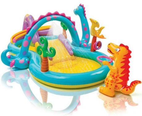Intex 57135, детский надувной центр бассейн с горкой Планета динозавров