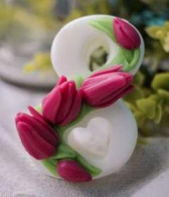 Силиконовая форма для мыла Восьмерка с тюльпанами