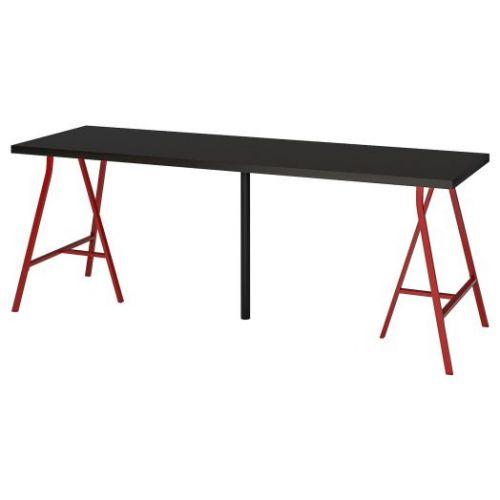 LINNMON ЛИННМОН / LERBERG ЛЕРБЕРГ, Стол, черно-коричневый/красный, 200x60 см - 193.355.74