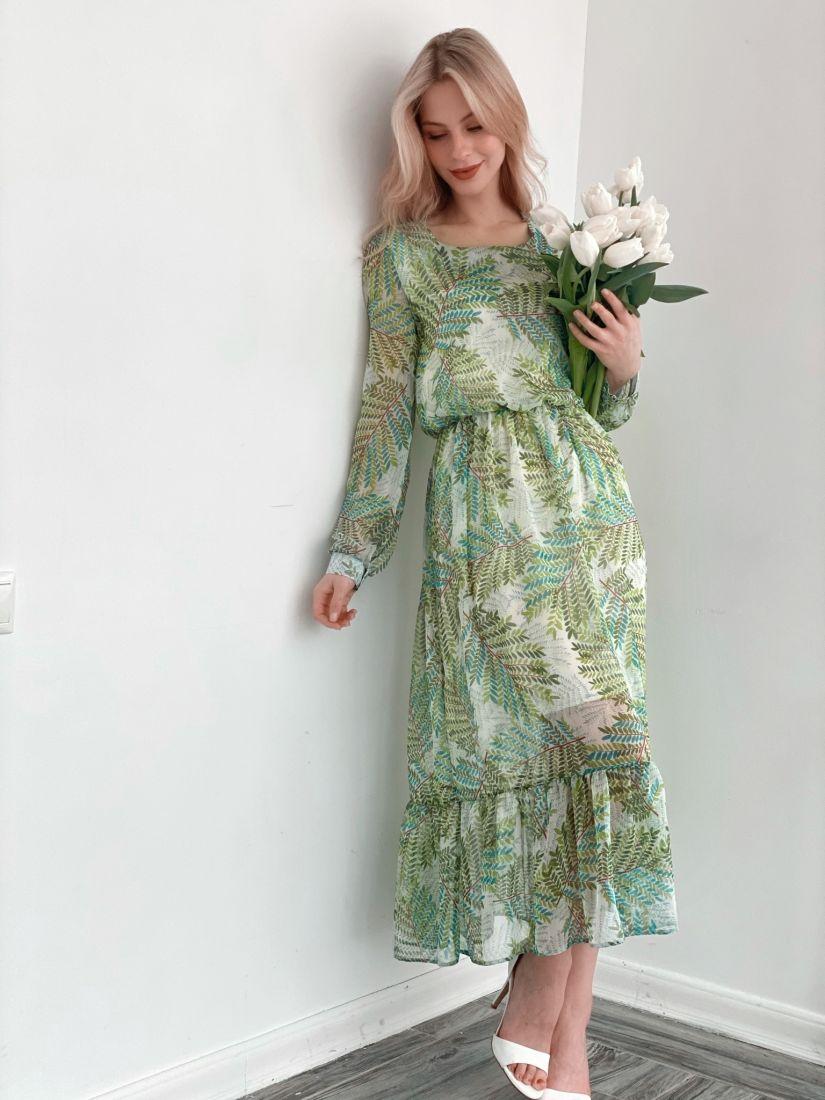 s3839 Платье из шифона с сочным зелёным принтом (на подкладе)