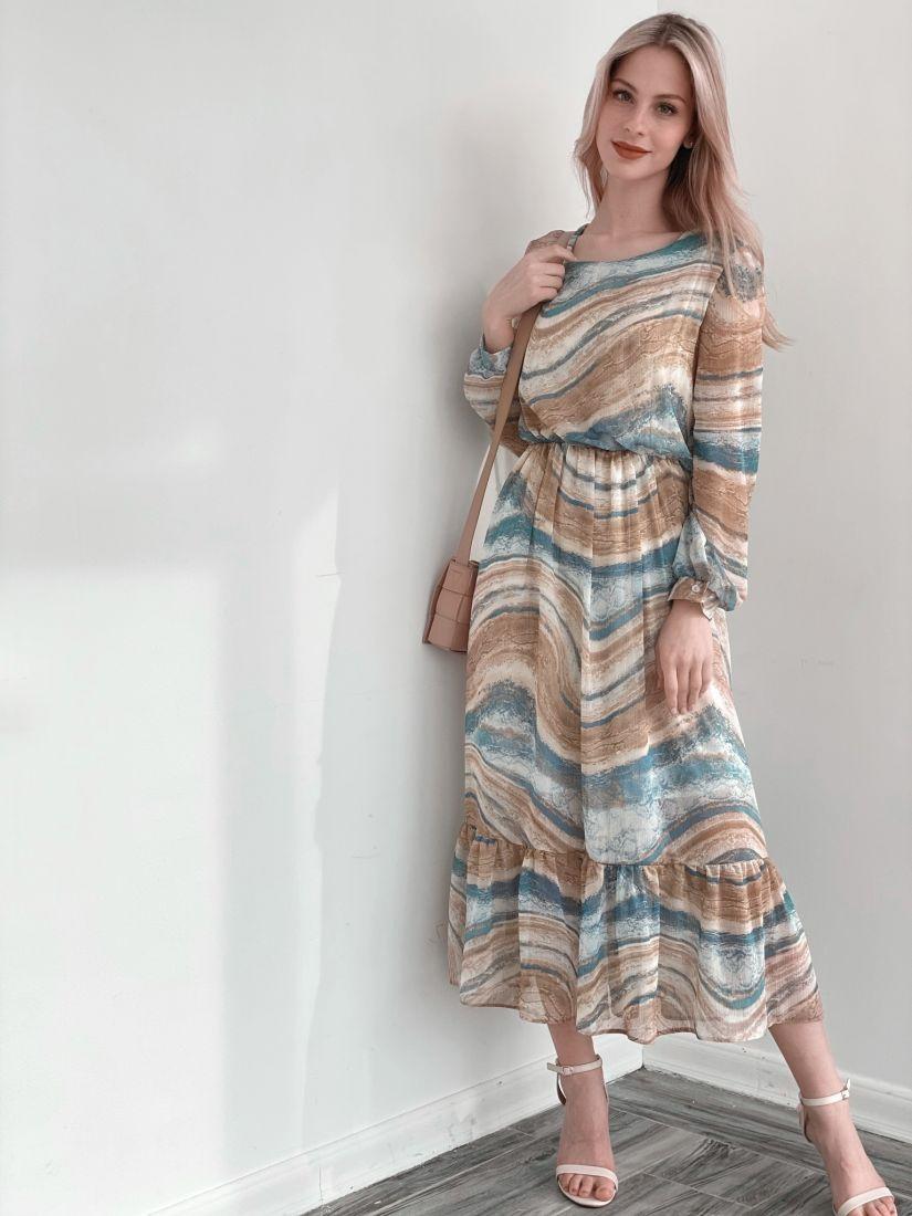 s3840 Платье из шифона с бежево-голубым принтом (на подкладе)