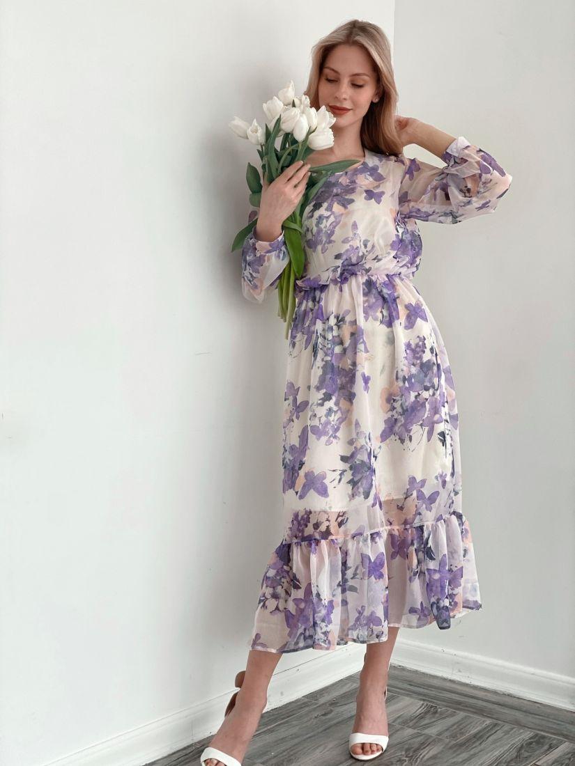 s3841 Платье из шифона в весенней расцветке (на подкладе)