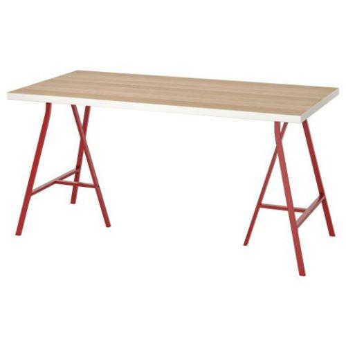 LINNMON ЛИННМОН / LERBERG ЛЕРБЕРГ, Стол, белый под беленый дуб/красный, 150x75 см - 593.310.03