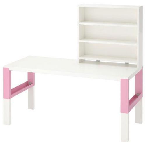 PAHL ПОЛЬ, Письменн стол с полками, белый/розовый, 128x58 см - 592.512.75