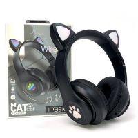 Беспроводные наушники Cat Ear P33M с bluetooth и светящимися кошачьими ушками, Черные