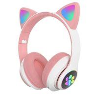 Беспроводные наушники Cat Ear P33M с bluetooth и светящимися кошачьими ушками, Розовые