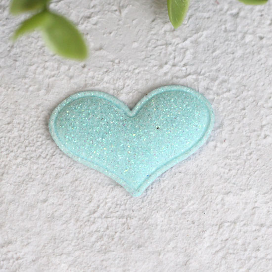 Кукольный аксессуар - Патч сердце мятное 3,2*2,2 см