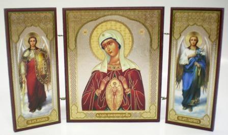"""Складень тройной на дереве - икона Пресвятой Богородицы """"В родах Помощница"""""""