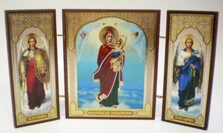 """Складень тройной на дереве - икона Пресвятой Богородицы """"Благодатное Небо"""""""